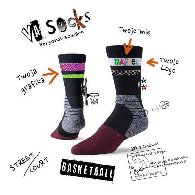 Skarpetki z własnym nadrukiem do koszykówki | VA Socks